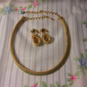 Vintage Gold Tone Mesh Aqua Bead Choker Earrings